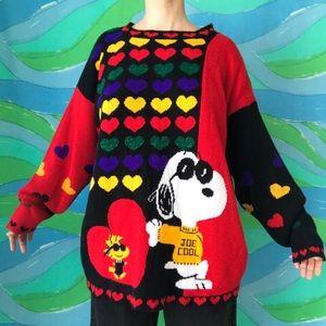 RARE VINTAGE 80s SNOOPY & FRIENDS rainbow sweater
